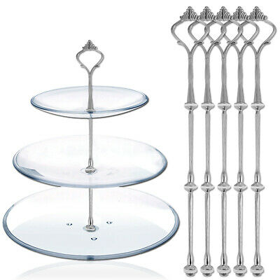 £7.90 • Buy 5 Sets 3 Tier Cake Plate Stand Handle Fittings Tea Shop Room Party Silver