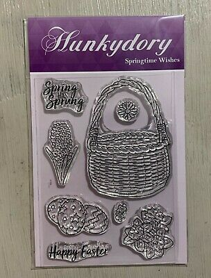 Hunkydory Clear Stamps - Springtime Wishes - Flowers, Basket, Sentiment, Easter • 3.99£