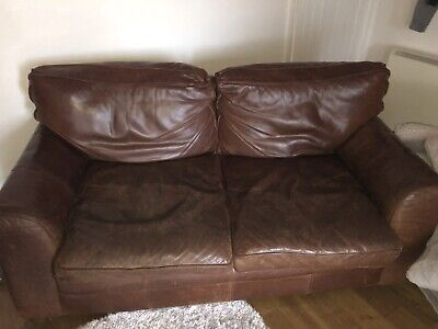 Halo 2 Seater Brown Leather Couch Distressed British Made (3 Seater Size)comfy • 399£