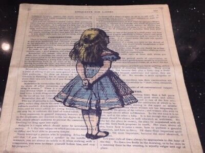 "Alice In Wonderland Vintage Style Cushion Cover 17"" Square • 5£"