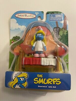 The Smurfs - Smurfette With Bed - 2009 Jakks Pacific • 10.14£