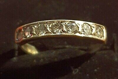 Vintage Silver Half Eternity Ring With CZ Size K 1/2 • 15£