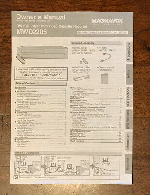 $ CDN15.02 • Buy Magnavox MWD2205 DVD VCR Combo Owner's Instruction Manual Booklet Only