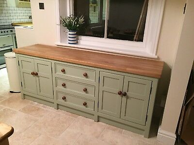 Hand Built Painted Solid Pine Freestanding Kitchen Base Unit With Oak Worktop.  • 1,600£