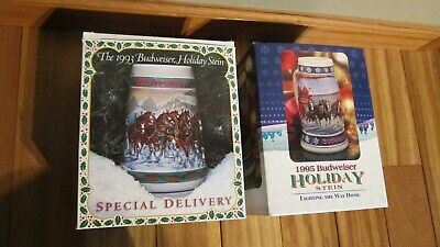 $ CDN24.86 • Buy LOT BUDWEISER 1993 Budweiser Holiday Stein Special Delivery & 1995 LT.WAY HOME