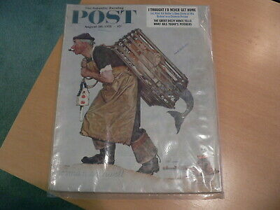 $ CDN25.37 • Buy Saturday Evening Post Aug 20 1955 NORMAN ROCKWELL Nude Cover Mermaid & Fisherman