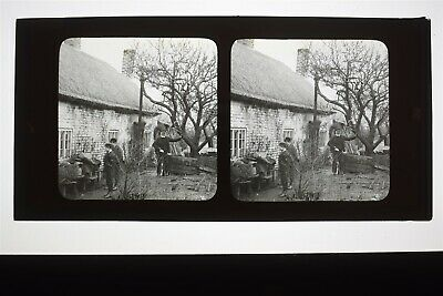 Rural Cottage & Bee Hives - Glass Diapositive Stereoview • 59.95£