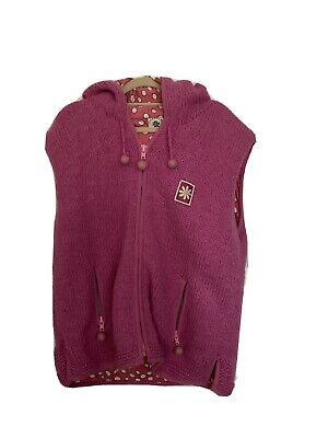 "PACHAMAMA Hand Knitted Pure Wool Hooded Gilet Cotton Lined Size L 16/18 47"" Bust • 18.99£"