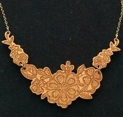 Maria Allen Necklace-Design Museum-Laser Cut Wood-Flowers-Gold Plated Chain-New • 9.80£