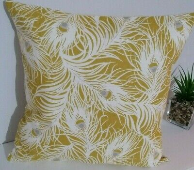 "16"" Cushion Cover Ochre Grey White Peacock Feathers • 6£"