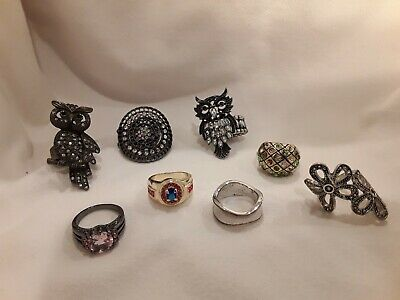 $ CDN40.69 • Buy Jewelry Lot 8 Rings Vintage /Cocktail /Finger ALL 9 To 9 1/2 Pink Owl Lia Sophia