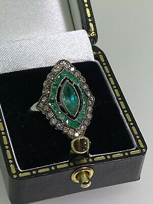 AU1595 • Buy Marquise Cut Natural Emerald & Rose Cut Diamond Art-Deco Style Gold, Silver Ring