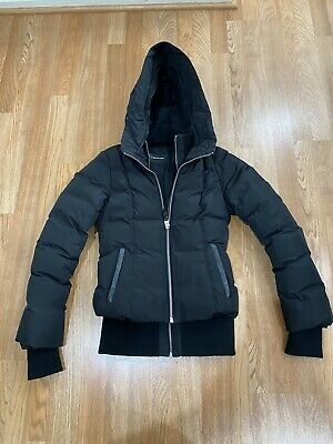 """$275 • Buy """"MACKAGE"""" Montreal Black Leather Trimmed Pockets Hooded Jacket Coat XS.!!!"""