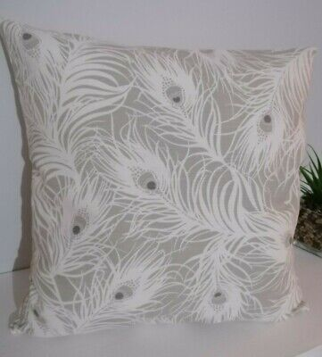 "16"" Cushion Cover Peacock Feathers Grey White  • 6.50£"