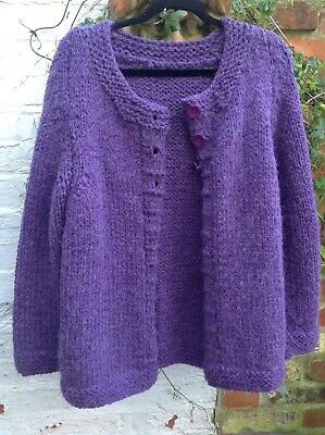 Hand Knitted Chunky Purple Cardigan Debbie Bliss Wool-Mix Large 21  Chest • 45£