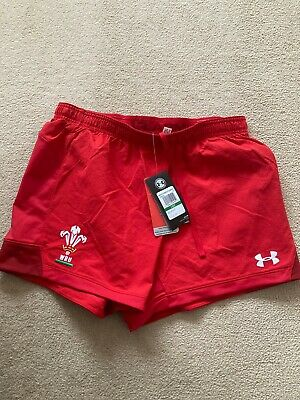 Under Armour Mens Red Match Issue WRU Wales Rugby Union Shorts - BNWT • 22.99£