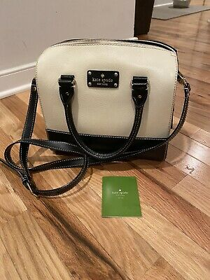 $ CDN80.32 • Buy Kate Spade Tan And Black Leather Satchel Crossbody Handbag Purse