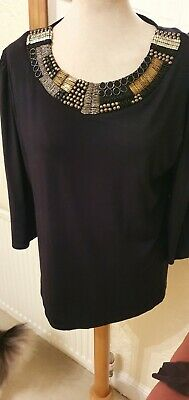 ALEX AND CO Black Top Embellished Neckline 3/4 Sleeves Size 18 Used • 3.99£