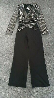 Girls On Film Black And Silver Sequined Jumpsuit Size One (10/12)  • 10£
