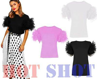 Ladies Puff Frill Mesh Tulle Scoop Neck Short Sleeve Top Women Party Tee T-Shirt • 6.55£