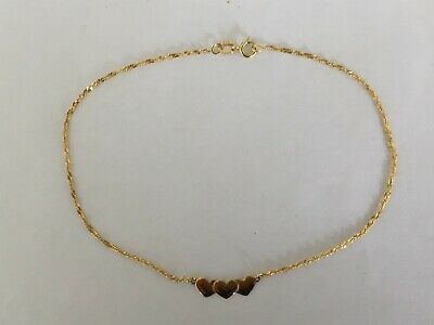 AU120 • Buy 9ct Solid Yellow Gold Three Heart Twist Chain Link Ankle Chain / Anklet  23cms