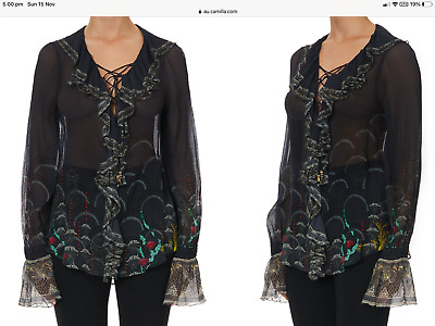 AU199 • Buy Camilla Wise Wings Lace Up Ruffle Blouse BNWT