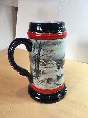 """$ CDN6.38 • Buy 1990 Budweiser Holiday Stein Only. """"An American Tradition"""""""