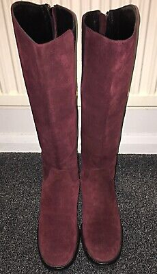 Marilyn Anselm Hobbs Burgundy Suede Knee High Boots, Size 5, Made In Italy . • 15£