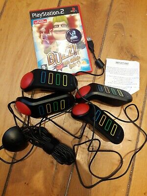 NEW BUZZ QUIZ TV +  MUSIC QUIZ + 4x WIRED BUZZERS + DONGLE SONY PS2 PS3 GAME  • 42.90£