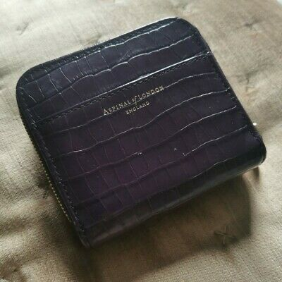 Aspinal Of London Small Purple Purse In Croc Leather And Gold Zip • 20£