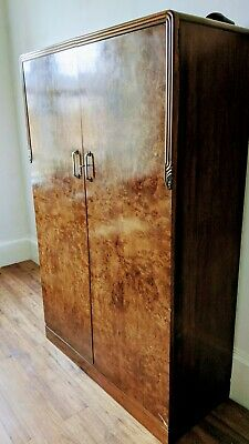 An Antique Art Deco Walnut Double Wardrobe ~Delivery Available~ • 80£
