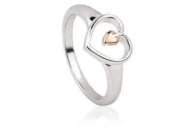 NEW Welsh Clogau Silver & Rose Gold Tree Of Life Heart Ring £35 Off! SIZE M • 54£