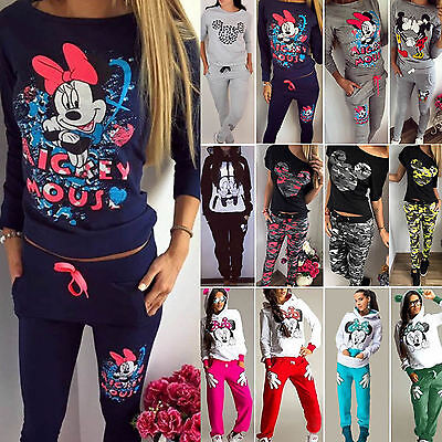 £14.43 • Buy Womens Mickey Minnie Mouse Hoodie Pullover Comfy Sweatshirt Pants Tracksuits