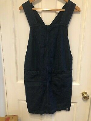Blue Denim Pinafore/apron Dress, Small (8/10), Straight Loose Fit, Knee Length • 3.30£