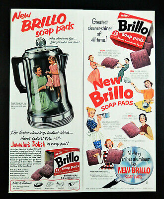 Vtg 1950 's Brillo Soap Pad Coffee Pot Mcm Housewife Advertisement Print Ad • 10.67£