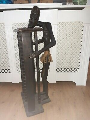 Carved Wooden Tribal Ethnic African Man Stand/Statue, CD Holder/Rack Side Table • 11.90£