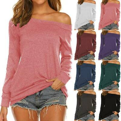 Womens Off The Shoulder T Shirt Ladies Long Sleeve Blouse Casual Pulover Tops • 16.19£