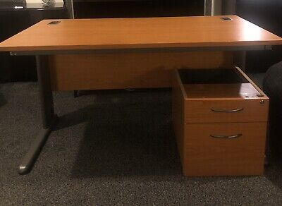 Cantilever Home Office Work Desk With Drawers And Cable Management • 95£
