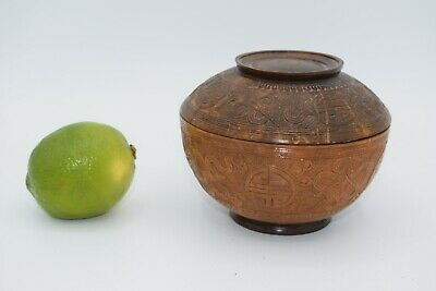 Fine Old Chinese Carved Wood Coconut Display Box Scholar Work Of Art 057 • 10£