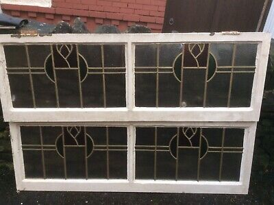 1930s ANTIQUE STAINED LEADED LIGHTS GLASS WINDOWS VINTAGE RECLAIMED OLD PERIOD • 60£
