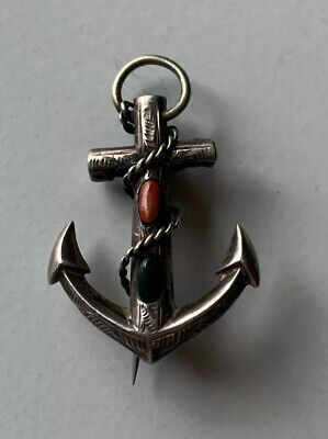 Antique Victorian/edwardian Anchor Brooch Silver Agate Stones C Clasp • 28.75£