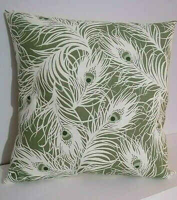 £6 • Buy 16 X 16  Cushion Cover Peacock Feathers Willow Green White