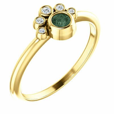 AU917.38 • Buy Genuine Alexandrite & .05ctw Diamond Stackable Ring In 14K Yellow Gold