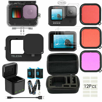 AU90.88 • Buy Accessories Kit For GoPro Hero 9 Black Waterproof Housing Case Filter Battery