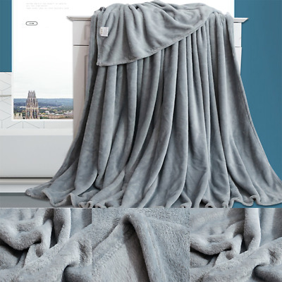 Coral Fleece Blanket Cozy Soft Warm Bed Throws Sofa Couch Solid Color 70*100cm • 9.27£