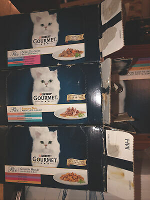 GOURMET Pearle Cat Food Country Ocean Gravy 60 Sachets Mixed Lot Collect Purley • 25.99£