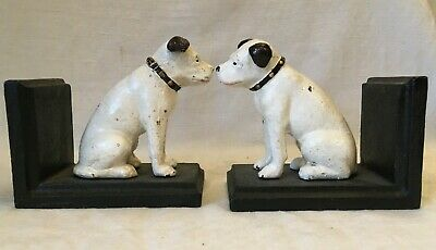 HMV NIPPER DOGS Cast Iron  Bookends 'His Masters Voice'  Shabby Chic • 8.50£