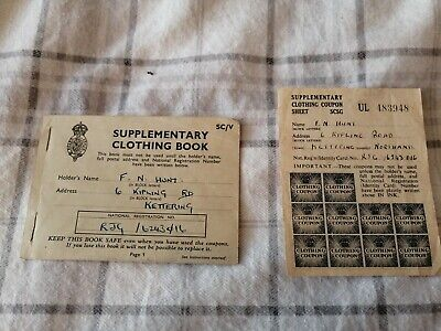World War 2 Supplementary Clothing Book And Clothing Coupon Sheet • 7£