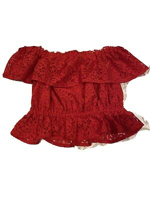 Womens Miss Selfridge Size 8 Red Lace Off The Shoulder Top  • 5£