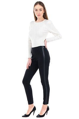 RRP €115 DKNY Trousers / Leggings Size S Stretch Black PU Leather Sides Stripes • 19.99£
